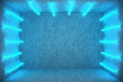 3D Illustration Abstract blue room interior with blue neon lamps. Futuristic architecture background. Box with concrete Royalty Free Stock Photo