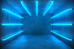 3D Illustration Abstract blue room interior with blue neon lamps. Futuristic architecture background. Box with concrete. Wall. Mock-up for your design project Royalty Free Stock Photo