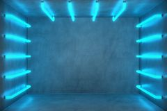 3D Illustration Abstract blue room interior with blue neon lamps. Futuristic architecture background. Box with concrete. Wall. Mock-up for your design project Stock Images
