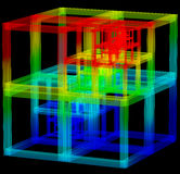 3D illustration of abstract cube construction Royalty Free Stock Image