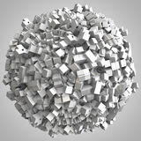 3D illustration of abstract cubes boxes sphere. Ball Royalty Free Stock Photography