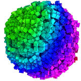 3D illustration of abstract cubes boxes sphere. Ball stock illustration