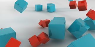 3d illustration. Abstract cubes on a light background. 3d rendering Royalty Free Stock Photo