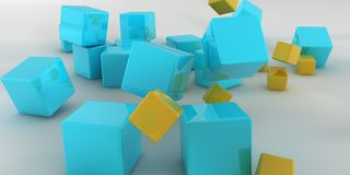 3d illustration. Abstract cubes on a light background. 3d rendering Stock Images