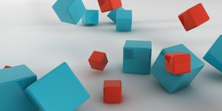 3d illustration. Abstract cubes on a light background. 3d rendering Royalty Free Stock Photos
