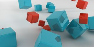 3d illustration. Abstract cubes on a light background. 3d rendering Royalty Free Stock Images
