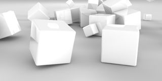 3d illustration. Abstract cubes on a light background. 3d rendering Stock Photography