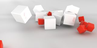 3d illustration. Abstract cubes on a light background. 3d rendering Royalty Free Stock Image