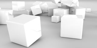 3d illustration. Abstract cubes on a light background. 3d rendering Stock Photo