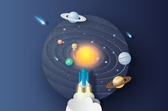 3D illustration of Abstract curve wave with launch rocket Startup for Solar system circle.Galaxy space exploring with satellite. And planets concept on dark vector illustration