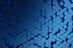 3D illustration abstract dark blue of futuristic surface hexagon pattern. Blue geometric hexagonal abstract background. 3D illustration abstract dark blue of vector illustration