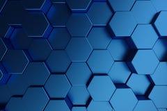 3D illustration abstract dark blue of futuristic surface hexagon pattern. Blue geometric hexagonal abstract background. 3D illustration abstract dark blue of royalty free illustration
