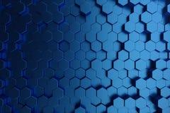 3D illustration abstract dark blue of futuristic surface hexagon pattern. Blue geometric hexagonal abstract background. 3D illustration abstract dark blue of stock illustration