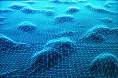 3D illustration abstract digital wireframe landscape. Cyberspace landscape grid. 3d technology. Abstract internet Royalty Free Stock Photos