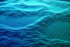 3D illustration abstract digital wireframe landscape. Cyberspace landscape grid. 3d technology. Abstract internet Stock Photo