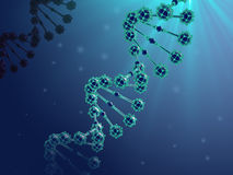 3d illustration of abstract DNA blue helix in biological space. Stock Image