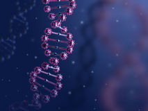3d illustration of abstract DNA helix in biological blue space. Stock Photos