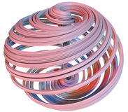 3D illustration of abstract figures. Made of elastic ribbons Royalty Free Stock Photography