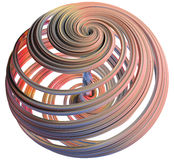 3D illustration of abstract figures. Made of elastic ribbons Stock Photo