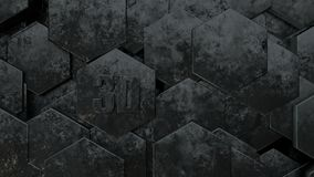 3D illustration of abstract futuristic background from many different hexagons, honeycomb metal with scratches and rust, old, idea vector illustration