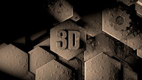 3D illustration of abstract futuristic background from many different hexagons, honeycomb stone with scratches and rust, old, idea stock illustration