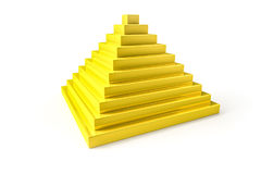 Abstract golden pyramid. 3d illustration of an abstract golden pyramid royalty free illustration