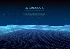 3d illustration. Abstract landscape on a white background. Cyberspace grid. stock illustration