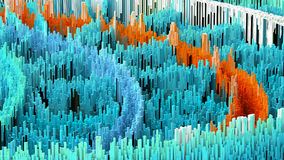 3D illustration of abstract macro render structure made of millions columns Stock Image