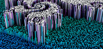 3D illustration of abstract macro render structure made of millions columns Royalty Free Stock Images