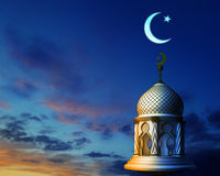 3d illustration of abstract mosque in night sky with crescent mo. On and star Royalty Free Stock Image