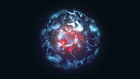 3d illustration of abstract red and blue magical orb. 3d animation of abstract red and blue magical orb. Burning sphere with plasma ring on black background vector illustration