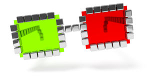 Abstract red green glasses icon. 3d illustration of an abstract red green glasses icon Royalty Free Stock Photos