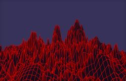 Abstract red mesh mountains. 3D illustration - Abstract red mesh mountains on purple sky Royalty Free Stock Image