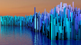 3D illustration of abstract render structure made of millions columns. On the water Royalty Free Stock Image