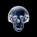 3D illustration abstract skull with headphone. 3D illustration abstract skull with headphone with clipping path Royalty Free Stock Photos