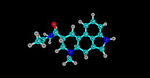 3D illustration of Acetorphine molecular structure isolated on black Stock Images