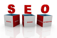 3d box of seo - search engine optimization. 3d illustration of acronym seo search engine optimization box Stock Image