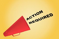 Action Required concept. 3D illustration of ACTION REQUIRED title flowing from a loudspeaker Royalty Free Stock Photo