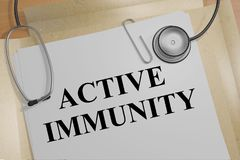 ACTIVE IMMUNITY concept. 3D illustration of ACTIVE IMMUNITY title on a medical document Stock Photos
