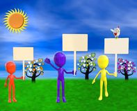 3d illustration of Add Your Message to the cute colorful figures with signs royalty free illustration