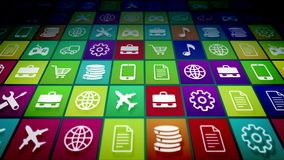 Multicolored Mobile Application Icons. 3d illustration of advanced mobile application icons on a pc screen placed diagonally. The icons are multicolored and Royalty Free Stock Image