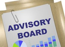 ADVISORY BOARD concept. 3D illustration of ADVISORY BOARD title on business document Royalty Free Stock Photo