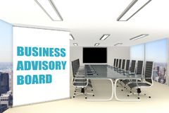 ADVISORY BOARD concept. 3D illustration of ADVISORY BOARD title on a wide rollup placed in a conference room Stock Image