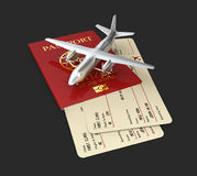 3d Illustration of aircraft with boarding pass and passport, isolated black Royalty Free Stock Image