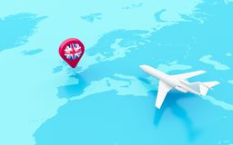 3D Airplane and map pointer with flag of united kingdom. 3D Illustration. Airplane flying around globe and map pointer with flag icon of united kingdom. Travel Stock Photography