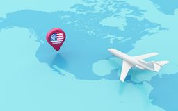 3D Airplane flying and map pointer with Spain flag. 3D Illustration. Airplane flying around globe and map pointer with flag icon of United States. Travel Royalty Free Stock Image