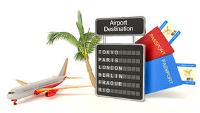 3d illustration. airport board and palm on white background Stock Images