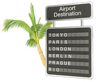 3d illustration. airport board and palm on white background Stock Photography