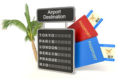 3d illustration. airport board and palm on white background Royalty Free Stock Image