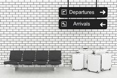 3d Airport Departure and Arrival information Board with travel s. 3d illustration. Airport Departure and Arrival information Board, with travel suitcase. Travel Stock Images